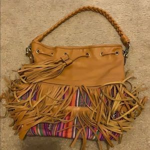 Melie Bianco Boho brown & Aztec Fringe Bag